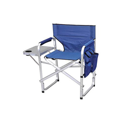 Camping Chairs - Ming's Mark Director-Style Folding Chair With Side Pouch And Tray - Blue