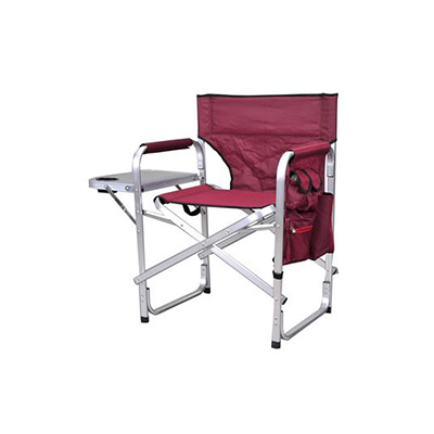 Camping Chairs - Ming's Mark Director-Style Folding Chair With Side Pouch And Tray - Burgundy