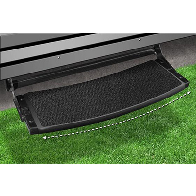 "RV Step Rug - Prest-O-Fit - Outrigger - Radius Front - 22""W - Black Onyx"