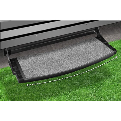 "RV Step Rug - Prest-O-Fit - Outrigger - Radius Front - 22""W - Castle Grey"