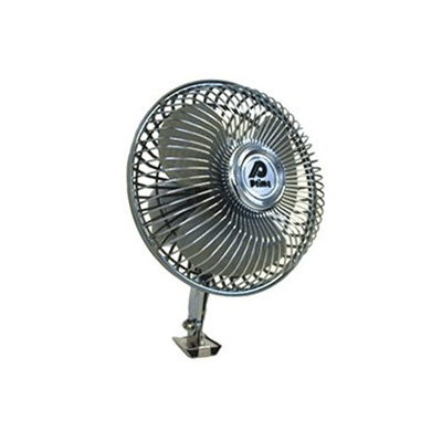 Fan - Prime Products 12V Oscillating Fan With Tilting Head - 1 Speed - Chrome