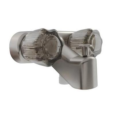 RV Shower Diverter Faucet - Dura Faucet - Smoke Acrylic Knobs - Nickel Base