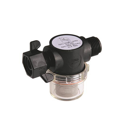 "Water Pump Strainer - SHURflo Strainer With 1/2"" NPSM Inlet And 1/2"" Swivel Outlet Connects"
