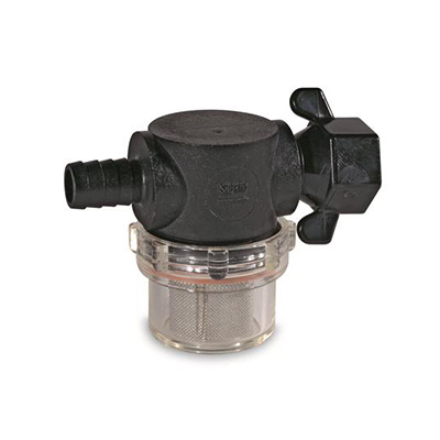 "Water Pump Strainer - SHURflo Strainer With 1/2"" Barb Inlet And 1/2"" Swivel Outlet Connects"