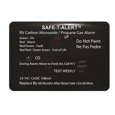 CO/LP Detector - Safe-T-Alert 25 Series 12V Surface Mount Carbon Monoxide/Propane - Black
