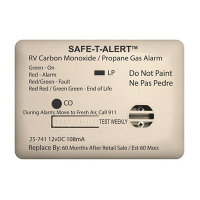CO/LP Detector - Safe-T-Alert 25 Series 12V Surface Mount Carbon Monoxide/Propane - White