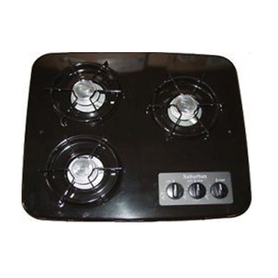 RV Cooktop - Suburban - 3 Burners - Drop-In Counter - Black