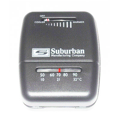 Furnace Thermostat - Suburban 12V Manual Control Heat Only Thermostat - Black
