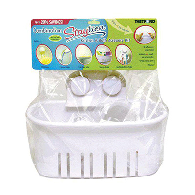 Storage Bin - Thetford Combination Staytion Bathroom Basket With Suction-Stick Cups - White