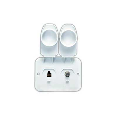 Cable Jack - JR Products Phone/Cable Wall Plate Jack - Polar White