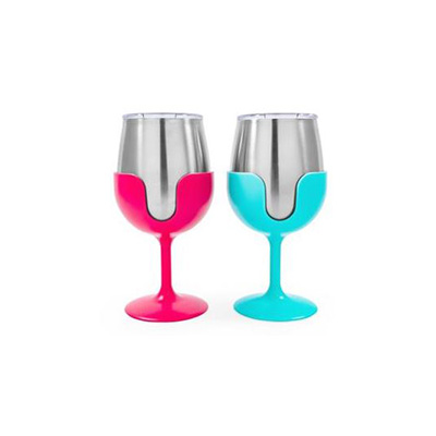 Camping Glasses - Life Is Better At The Campsite Wine Tumbler Set - Blue & Pink