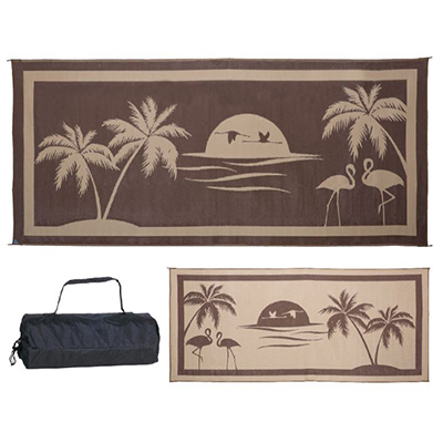 Camping Mats - Ming's Mark - Tropical - 8 x 18 Feet - Brown/Beige