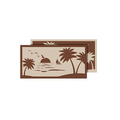 Camping Mats - Faulkner Beach & Palm Tree Patio Mat 9' x 18' - Brown & Beige