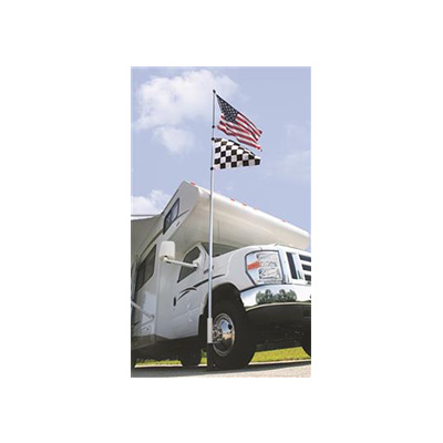 Campsite Flagpole - Camco - Fiberglass - Flys 2 Flags - Telscopic