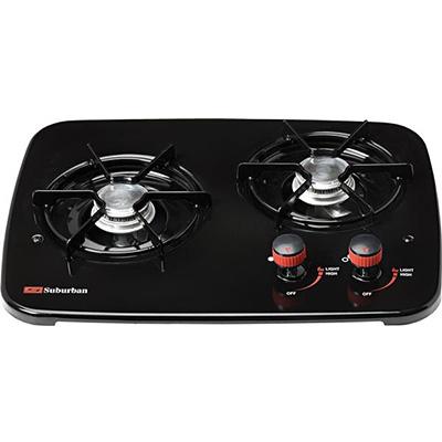 Cooktops - Suburban 2-Burner Drop-In-Counter Propane Cooktop - Black