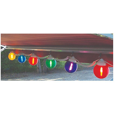 Patio Lights - Canadian RV Mats String Lights With 6 Multi Colour Globes - 120 Volts