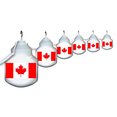 Patio Lights - Polymer Products 120V String Lights With 6 Shatterproof Globes - Canada Flags