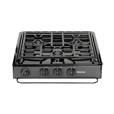 RV Cooktop - Suburban - 3 Burners - Slide-In-Counter - Deluxe Grate - Black