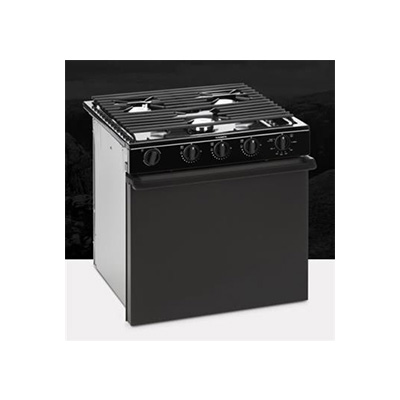 Gas Range - Dometic Propane Stove With Flat Wire Style Grate And Piezo Ignition - Black